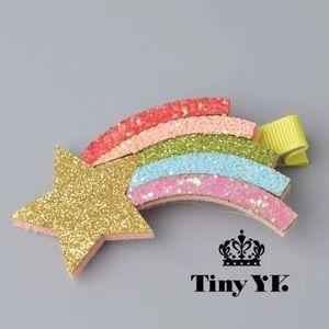 New  Cute Rainbow Hair Clips Sparkly  Accessories